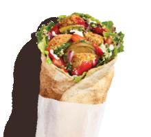 Rolled Pita Sriracha Falafel